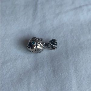 PANDORA Fish Silver and Blue Topaz Charm